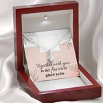 Together With You Is My Favorite Place To Be 14k White Gold Alluring Beauty Necklace With Mahogany Style Gift Box