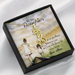 To My Daughter From Mom No Goodbyes Giraffe Couple Necklace
