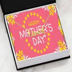 Pink Yellow Happy Mother's Day Scripted Love Necklace Gift For Women