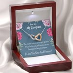 You Are My Compass Interlocking Hearts Necklace Gift For Wife