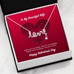 To My Beautiful Wife Valentine's Day Love You So Much Scripted Love Necklace