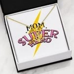 Mom Is My Super Hero Message Card Anchor Necklace Gift For Women