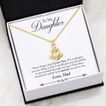 Never Forget I Love You Message Card Anchor Necklace Dad Gift For Daughter