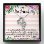 On Your Wedding Message Card Double Hearts Necklace Gift For Bestie