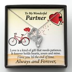 To Partner Love Is Forever 18K White Gold Twin Hearts Necklace