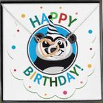 Panda Colorful Birthday Gift Interlocking Hearts Necklace