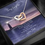 Interlocking Hearts Necklace Dad Gift For Daughter Shining Light Lighthouse