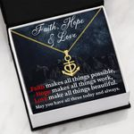 Religious Gift Faith Hope Love 18K Gold Anchor Necklace