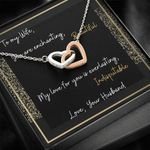 My Love For You Interlocking Hearts Necklace Gift For Wife