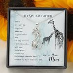 When We Can't Be Together Giraffe Couple Necklace Mom Gift For Daughter