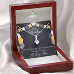 Thank You Gift For Mom 14k White Gold Alluring Beauty Necklace With Mahogany Style Gift Box