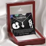 You Are My Rock Gift For Wife 14K White Gold Alluring Beauty Necklace With Mahogany Style Gift Box