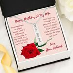 Peace Of Mind Red Rose Birthstone Name Bar Necklace Gift For Wife