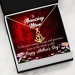 Mom The Most Caring Happy Mother's Day Anchor Necklace