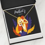 Yellow And Blue Leaves Mother's Day Infinity Heart Necklace Gift For Mom