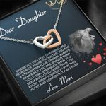 Interlocking Hearts Necklace Mom Gift For Daughter Wolf Always Remember