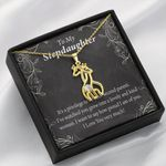 To My Stepdaughter How Proud I Am Of You Giraffe Couple Necklace