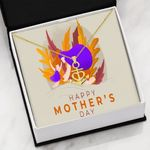 Purple Gold Happy Mother's Day Anchor Necklace