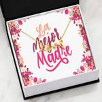 La Mejor Madre Floral Background Scripted Love Necklace Gift For Mom