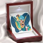 Karaoke Birthday Message Card Gift For Daughter Interlocking Hearts Necklace