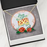 Love You Infinity Heart Necklace Gift For Mom Red Flower