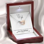 To Wife God Blessed The Broken Road Interlocking Hearts Necklace With Mahogany Style Gift Box