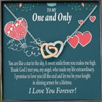 You Are Like A Star In The Sky Interlocking Hearts Necklace Gift For Lovers