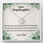 Love Knot Necklace Dad Gift For Stepdaughter Never Give Up