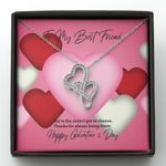 You Are The Sister I Got To Choose Gift For BFF Double Hearts Necklace With Mahogany Style Gift Box