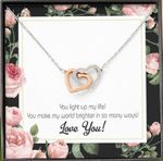 You Light Up My Life Gift For Lover Interlocking Hearts Necklace With Mahogany Style Gift Box