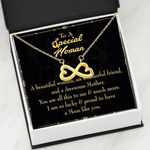 So Lucky To Have You In Life Infinity Heart Necklace Gift For Mom