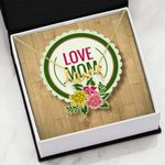 Love You Floral Circle Scripted Love Necklace Gift For Mom