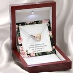 Thinking Of You Spanish Gift For Lover Interlocking Hearts Necklace With Mahogany Style Gift Box