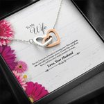 Interlocking Hearts Necklace Gift For Wife Love You Pink Flower