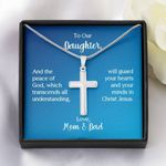 Parents Gift For Daughter Artisan Crafted Cross Necklace Your Mind In Christ Jesus