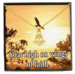 Soar High On Faith Message Card Anchor Necklace Gift For Women