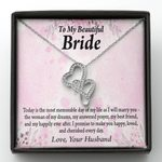 Today I Will Marry You Double Hearts Necklace Gift For Bride