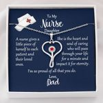 Stethoscope Necklace Dad Gift For Nurse Daughter A Little Piece Of Herself