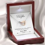 Mom Gift For Daughter Together Forever Interlocking Hearts Necklace With Mahogany Style Gift Box