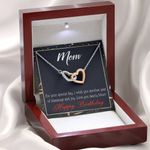 Love You Dearly Mom Gift For Mom Interlocking Hearts Necklace With Mahogany Style Gift Box