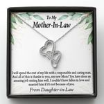 Thanks To You Gift For Mother In Law Double Hearts Necklace With Mahogany Style Gift Box