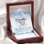Love Make You My Daughter Gift For Bonus Daughter Interlocking Hearts Necklace With Mahogany Style Gift Box