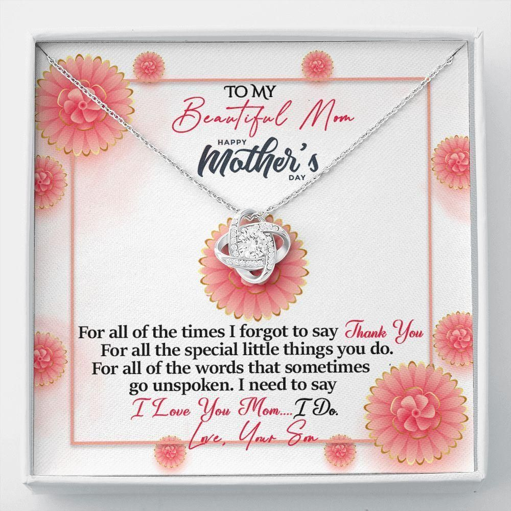 Thank You For All The Times Flowers Son Gift For Mom Love Knot Necklace