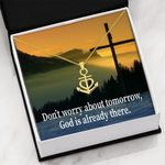 Religious Gift Don't Worry About Tomorrow 18K Gold Anchor Necklace