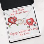 Interlocking Hearts Necklace Gift For Lover You Make My Heart Race