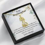 To My Stepdaughter The World To Me Giraffe Couple Necklace