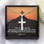 The Lord Shall Preserve You From All Evil Artisan Crafted Cross Necklace Gift For Christian