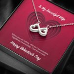 To My Beautiful Wife Without You I Am Nothing Infinity Heart Necklace