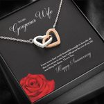 Interlocking Hearts Necklace Gift For Wife Red Rose Love You