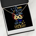 When It Rains Look For Rainbow Infinity Heart Necklace Gift For Women